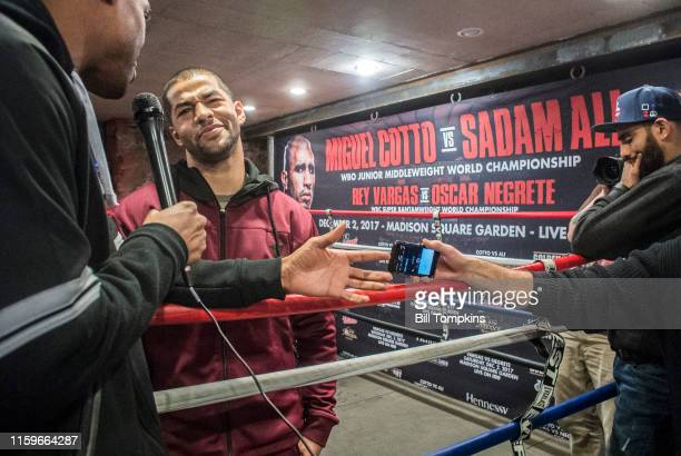 November 28: MANDATORY CREDIT Bill Tompkins/Getty Images Sadam Ali speaks to the media prior to his scheduled Junior Middleweight fight against...