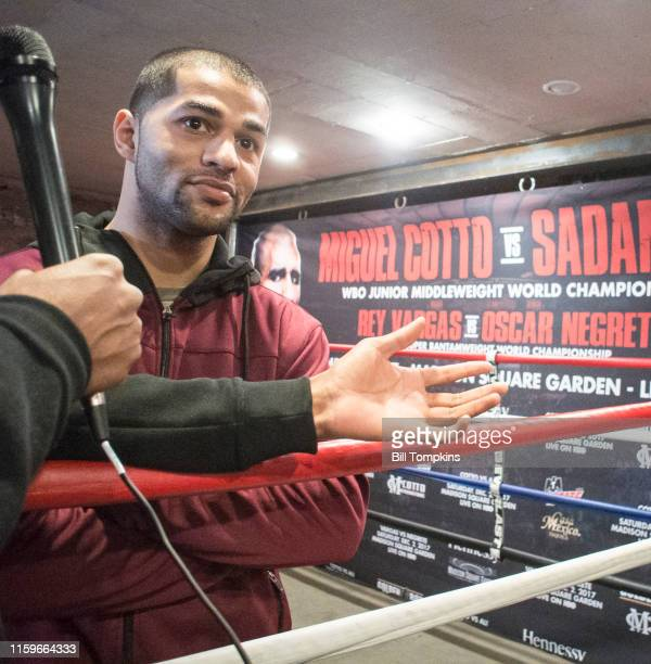 November 28: MANDATORY CREDIT Bill Tompkins/Getty Images Sadam Ali spekas to the media prior to his scheduled Junior Middleweight fight against...