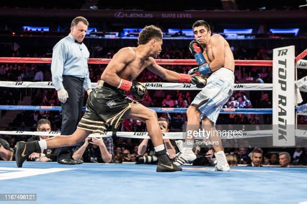 Bill Tompkins/Getty Images Shakur Stevenson defeats Carlos Gaston Suarez by TKO in the 1st round during their featherweight fight at Madison Square...