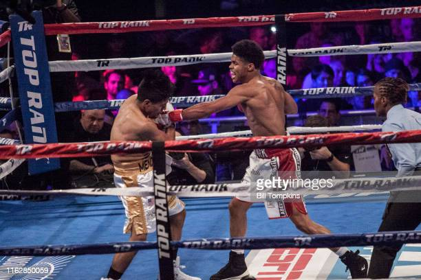 Bill Tompkins/Getty Images Shakur Stevenson defeats Oscar Mendoza by TKO in the 2nd round during their Featherweight fight at Madison Square Garden...