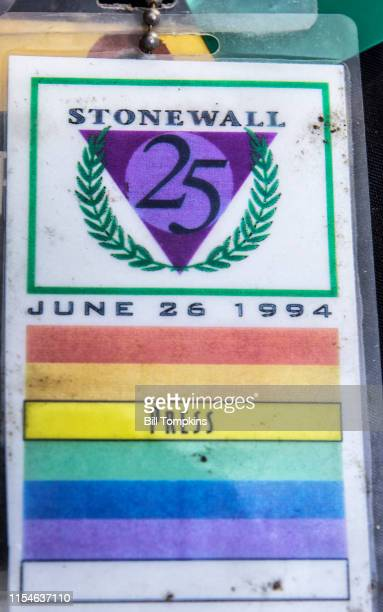June 26, 1994: MANDATORY CREDIT Bill Tompkins/Getty Images STONEWALL credential for the Stonewall 25th anniversary. The Stonewall riots were a series...