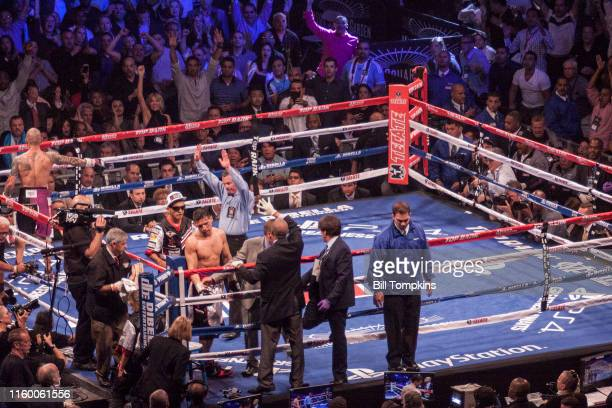 June 7: MANDATORY CREDIT Bill Tompkins/Getty Images The fight is stopped between Miguel Cotto and Sergio Martinez in their world middleweight boxng...