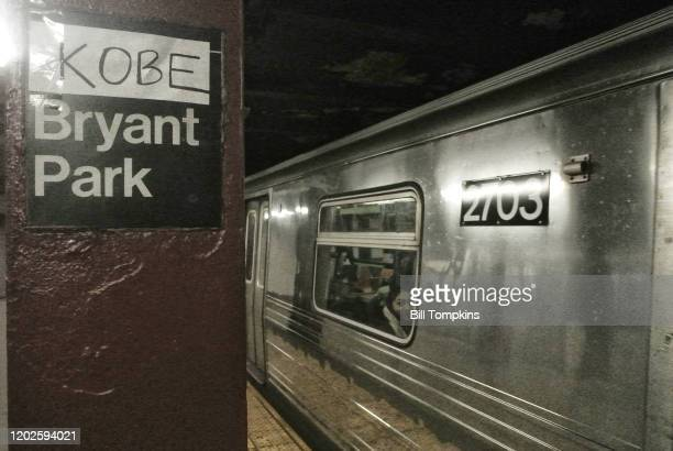Januay 27: MANDATORY CREDIT Bill Tompkins/Getty Images The name 'KOBE' affixed above the Bryant Park subway station signage in memorium for Kobe...