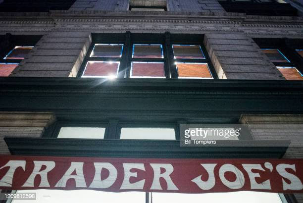 MANDATORY CREDIT Bill Tompkins/Getty Images The Trader Joe's storefront on March 1 2020 in New York City Founder Joe Coulombe died at his home in...