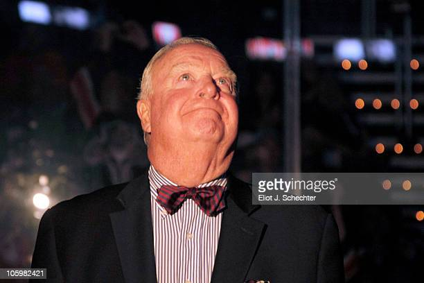 Bill Torrey looks on at a Tribute Night in his honor as the Florida Panthers host the New York Islanders at the BankAtlantic Center on October 23...