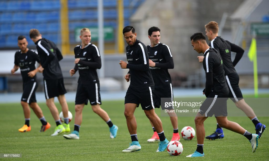 Bill Tuiloma controls the ball during a training session of the New Zealand national football team at Petrovsky Stadium on June 18, 2017 in Saint Petersburg, Russia.