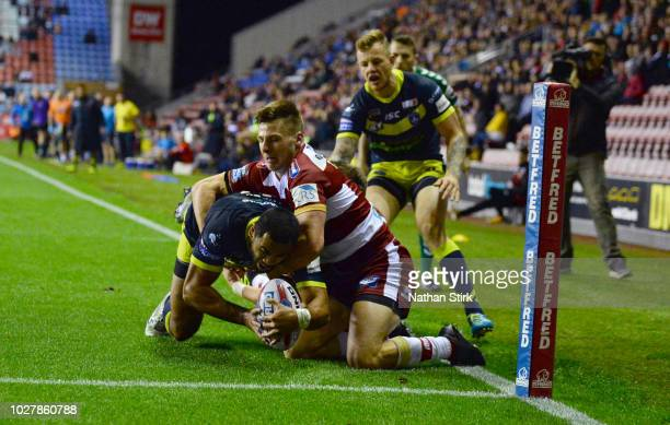 Bill Tupou of Wakefield Trinity scores their second try during the BetFred Super League match between Wigan Warriors and Wakefield Trinity on...