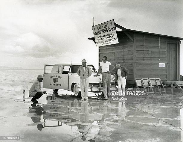 Bill Tuthill and the timing crew from the United States Auto Club await some dryer conditions before speed runs on the Bonneville Salt Flats