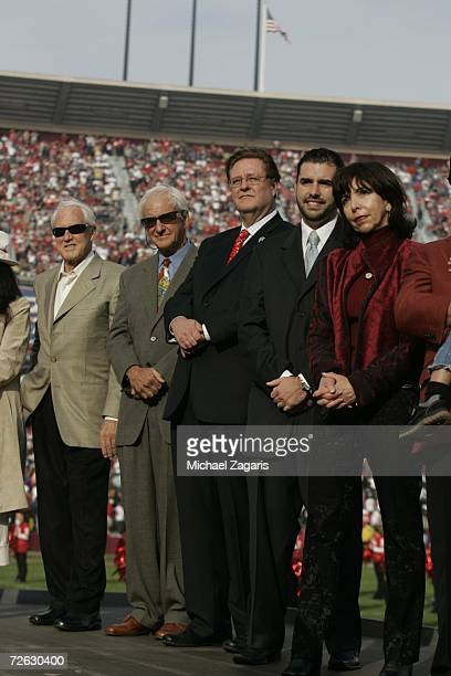 Bill Walsh George Seifert Dr John York Jed York and Denise DeBartolo York look on during a ceremony in Jerry Rice's honor at half time of the game...