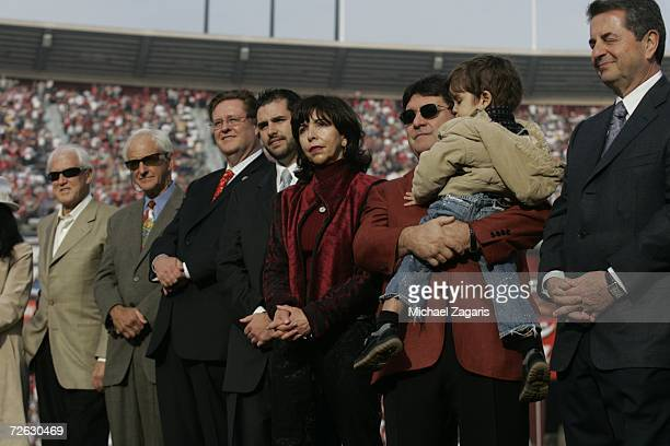 Bill Walsh George Seifert Dr John York Jed York Denise DeBartolo York Edward J DeBartolo Jr and Carmen Policy look on during a ceremony in Jerry...