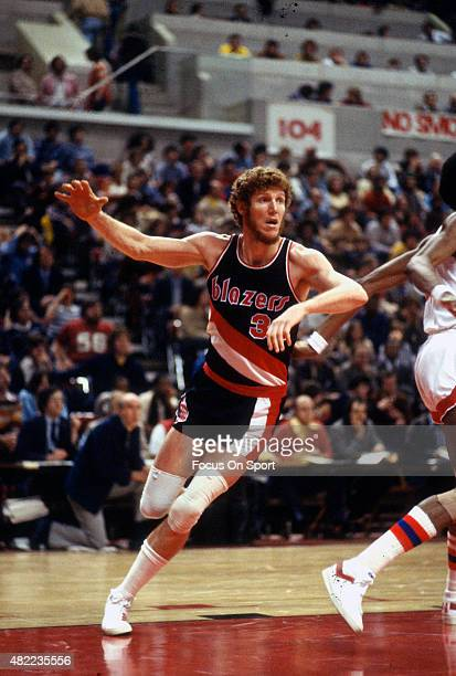 Bill Walton of the Portland Trail Blazers in action against the New Jersey Nets during an NBA basketball game circa 1977 at the Rutgers Athletic...