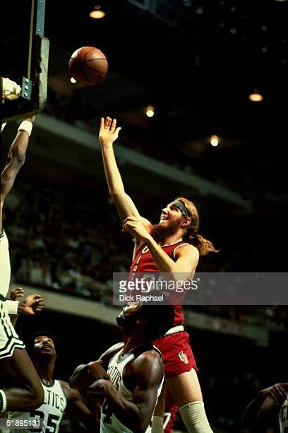 Bill Walton of the Portland Trailblazers goes for a layup against the Boston Celtics during the NBA game at the Boston Garden in Boston Masachussetts...