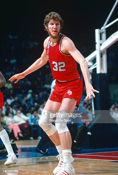 Bill Walton of the Portland Trailblazers in action against the Washington Bullets during an NBA basketball game circa 1977 at the Capital Center in...