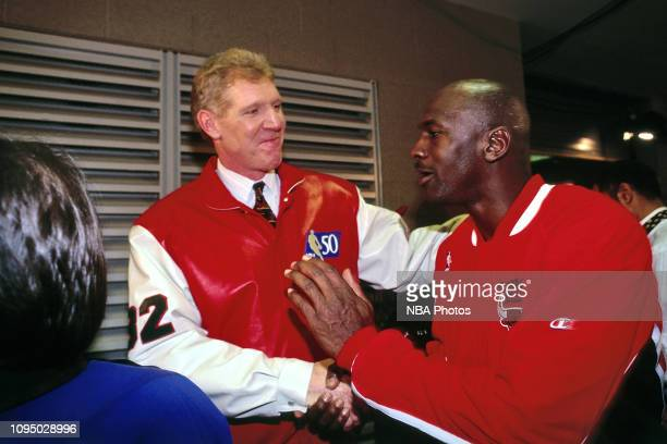 Bill Walton shakes hands with Michael Jordan during the NBA at 50 Event on February 7 1997 as a part of NBA AllStar Weekend 1997 at the Gund Arena in...