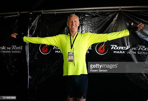 Bill Walton stands in a tent near the finish line of the 13th Annual Rock n' Roll Marathon on June 6 2010 in San Diego California
