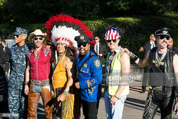 Bill Whitefield Felipe Rose Alex Briley Jim Newman Ray Simpson and Eric Anzalone of 'The Village People' arrive to attend the 'AMFAR' dinner during...