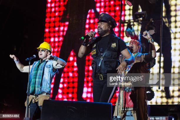 Bill Whitefield Ray Simpson and Felipe Rose of Village People perform at Rewind Festival on August 19 2017 in HenleyonThames England