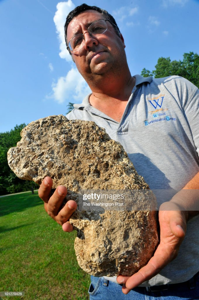 Bill Willard is the leader of a group searching for evidence of a Sasquatch or bigfoot creature, spotted by, among others, his two sons in Spottsylvania county, shown on May, 19, 2010 in Thornburg, VA, with a plaster cast he made from a suspicious footprint several years ago.
