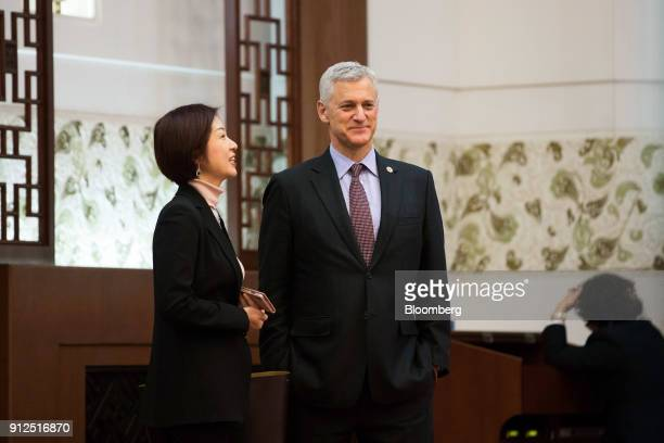 Bill Winters chief executive officer of Standard Chartered Plc attends a signing ceremony at the Great Hall of The People in Beijing China on...
