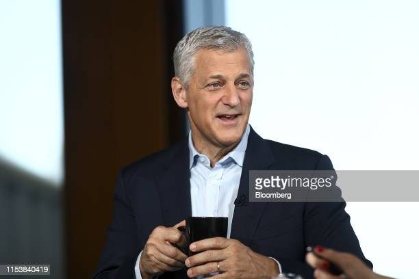 Bill Winters chief executive officer of Standard Chartered Plc reacts during a Bloomberg Television interview in London UK on Thursday July 4 2019...