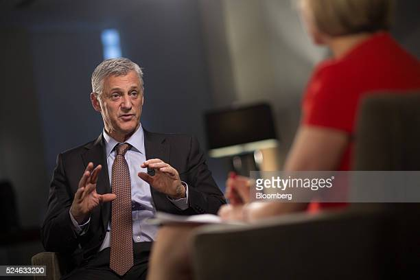 Bill Winters chief executive officer of Standard Chartered Plc speaks during a Bloomberg Television interview in London UK on Tuesday April 26 2016...