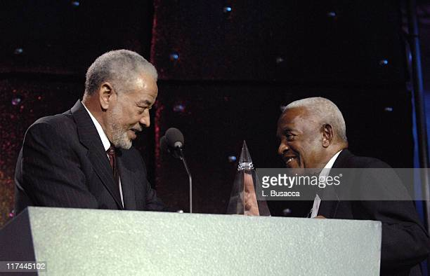 Bill Withers and Irving Burgie during 38th Annual Songwriters Hall of Fame Ceremony Show at Marriott Marquis in New York City New York United States