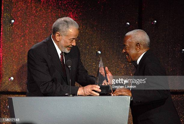 Bill Withers and Irving Burgie honoree during 38th Annual Songwriters Hall of Fame Ceremony Show at Marriott Marquis in New York City New York United...