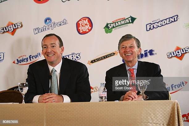 Bill Wrigley Executive Chairman and Chairman of the Board of the Wm Wrigley Jr Company and Bill Perez President and CEO at Wrigley address the press...