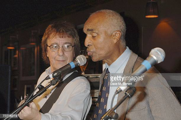 Bill Wyamn and Kenny Lynch attend Bill Wyman's 70th birthday party at Ronnie Scotts Jazz club on October 18 2006 in London England