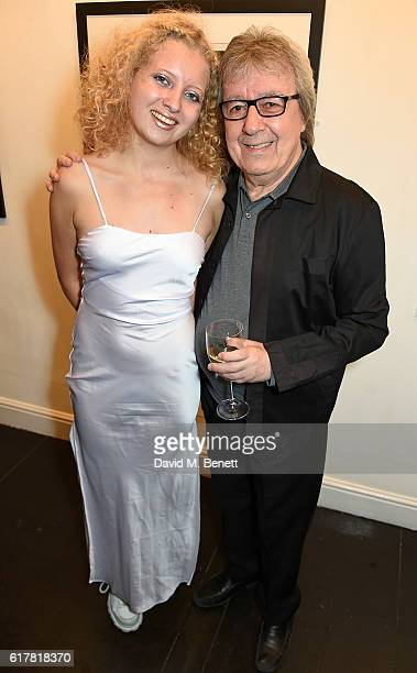 Bill Wyman and Jessica Wyman attend a private view of Bill Wyman's photographic exhibition 'Around The World In 80 Years' marking his 80th birthday...