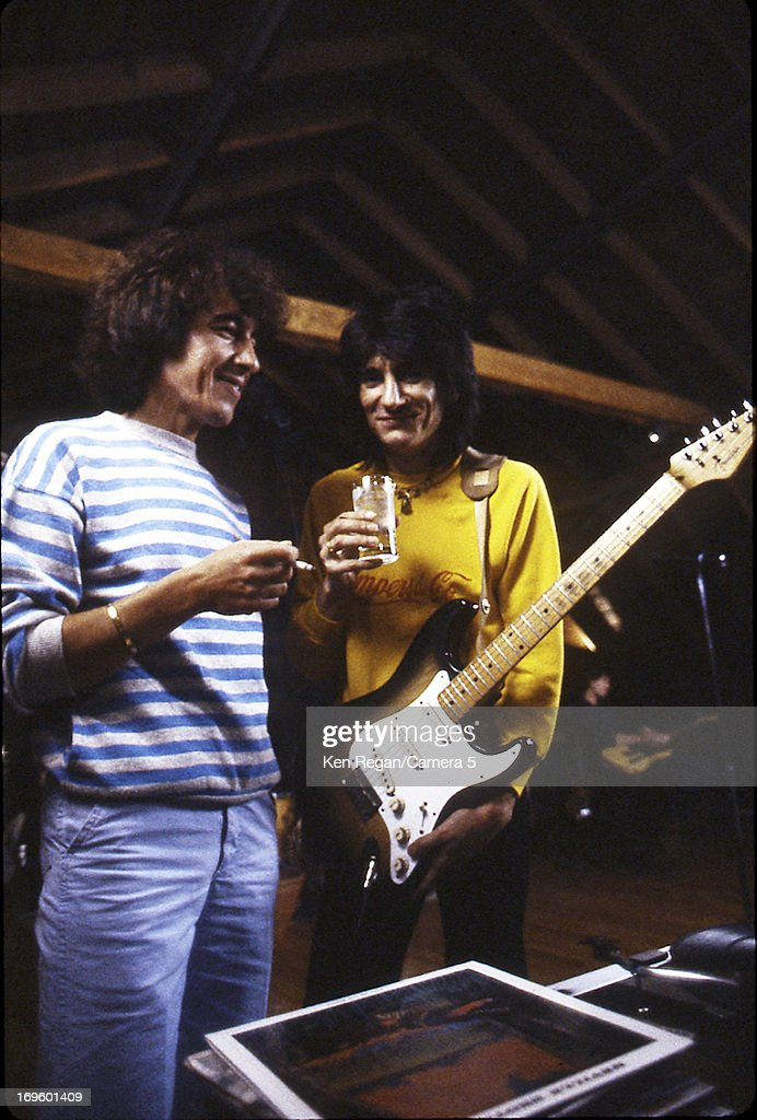 Bill Wyman and Ronnie Wood of the Rolling Stones are photographed while recording at Longview Farm in September 1981 in Worcester, Massachusetts.