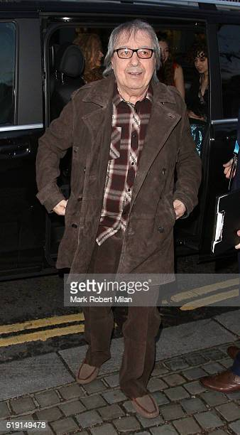 Bill Wyman attending The Rolling Stones 'Exhibitionism' private view at the Saatchi Gallery on April 4 2016 in London England