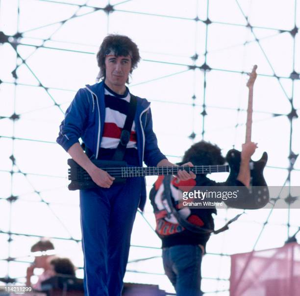Bill Wyman bassist with The Rolling Stones in concert at Ashton Gate in Bristol 27th June 1982