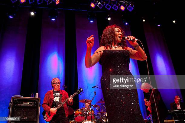 Bill Wyman Graham Broad Mary Wilson of The Priginal Supremes and Albert Lee of Bill Wyman's Rhythm Kings perform on stage at De Montfort Hall And...