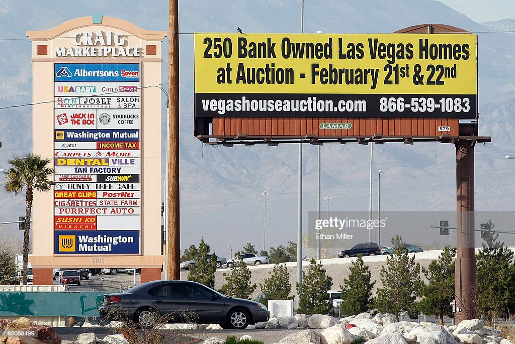 A billboard advertises an auction of foreclosed homes February 24, 2009 in Las Vegas, Nevada. Home prices in Las Vegas fell by 33 percent compared to the same period last year according to the Standard & Poors/Case-Shiller index for the fourth quarter of 2008. Las Vegas' slide was the second worst of the 20 cities tracked by the index, which also shows that national home prices dropped 18.2 percent in the fourth quarter, the largest slide in the index's 21-year history. In addition, the Federal Housing Finance Agency on Tuesday reported an 8.2 percent drop in home prices from a year earlier, its largest annual decline recorded since 1991.