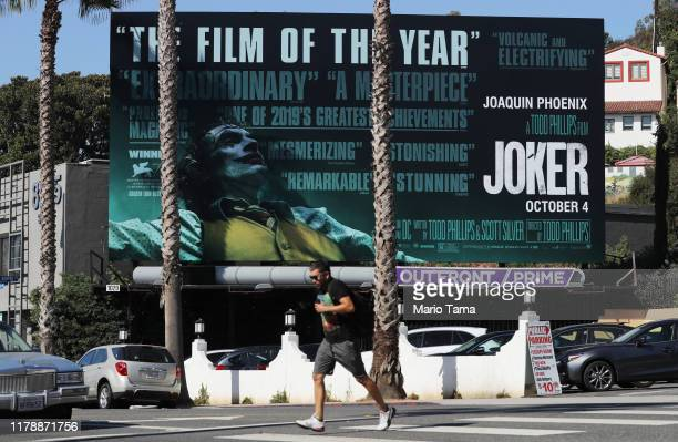 A billboard advertises the new film Joker on October 3 2019 in West Hollywood California Security measures have been tightened in some cities around...