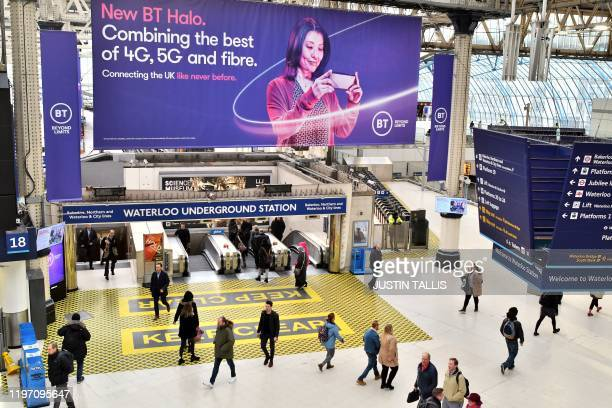 A billboard advertising 4G 5G and fibre mobile telecommunication is displayed at Waterloo Underground Station in London on January 28 2020 Prime...