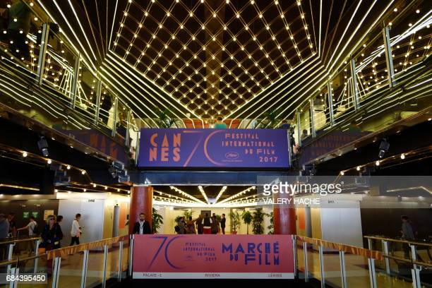 A billboard advertising the Festival's Film Market is pictured on May 18 2017 during the 70th edition of the Cannes Film Festival at the Festival's...