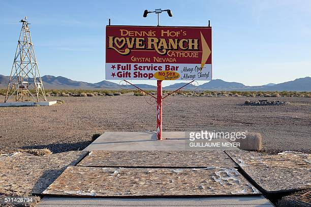 A billboard advertising the Love Ranch legal brothel in Crystal Nevada on February 19 2016 / AFP / Guillaume MEYER