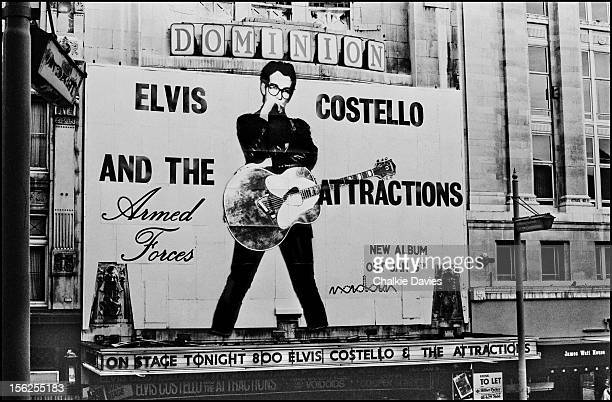 A billboard advertising the new Elvis Costello And The Attractions album 'Armed Forces' above the entrance of the Dominion Theatre London December...