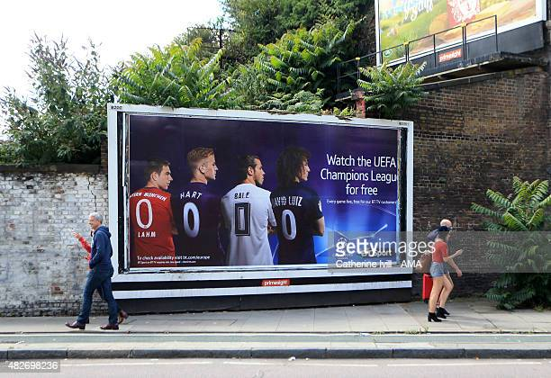 A billboard advertising the UEFA Champions League on BT Sport television before the Emirates Cup match between VfL Wolfsburg and Villarreal at...