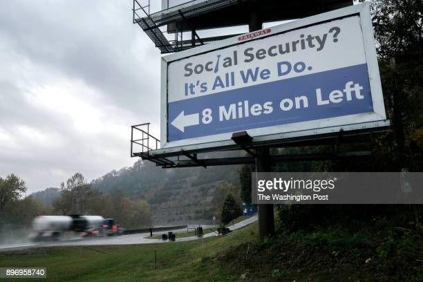 Billboard along highway in Pike County KY on November 6 2017 Billboards advertising legal services are prevalent in an area where many Kentucky...