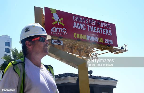 A billboard along Hollywood's famed Sunset Strip from the Center for American Security as part of its China Owns US campaign on August 29 2016 in...