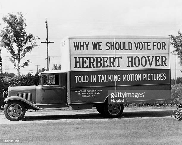 A billboard and motion picture truck used to promote the presidential candidacy of Herbert Hoover