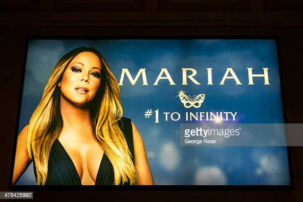 A billboard at Caesars Palace features an ad for Mariah Carey's residency show at The Colosseum at Caesars Palace on May 19 2015 in Las Vegas Nevada...