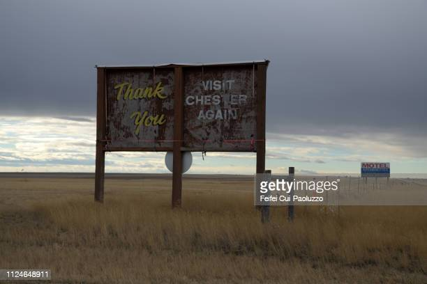 billboard at chester, montana, usa - town stock pictures, royalty-free photos & images