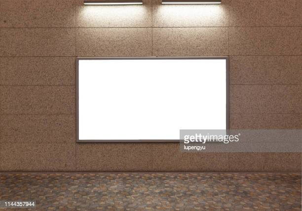 billboard banner signal mock up display in subway train station - road sign board stock pictures, royalty-free photos & images