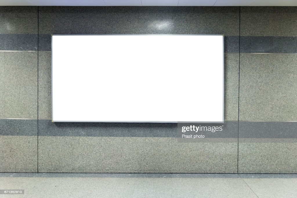 Billboard Banner signal mock up display in subway train station. : Stock Photo