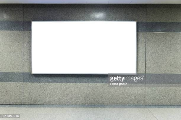 billboard banner signal mock up display in subway train station. - subway stock pictures, royalty-free photos & images