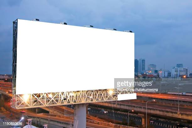 billboard blank for outdoor advertising poster on the highway - 商業看板 ストックフォトと画像